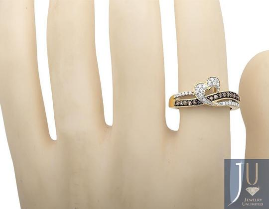 Other Open Heart Ribbon Brown & White Diamond Engagement Ring 0.26ct