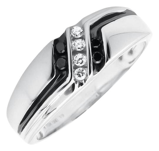 Other Diagonal Black and White Diamond Z Style Wedding Ring Band 0.25ct