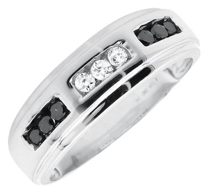 Jewelry Unlimited Mens Round Black and White Diamonds Wedding Ring Band 0.36ct.