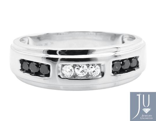 Jewelry Unlimited Mens Round Black and White Diamonds Wedding Ring Band 0.36ct. Image 1