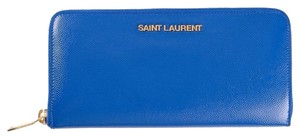 Saint Laurent Saint Laurent Letters Zip Around Wallet in Blue