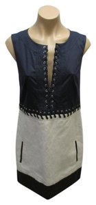 Barbara Bui short dress Blue and Cream Linen Blend Whip Stitching Sleeveless Size 4 on Tradesy