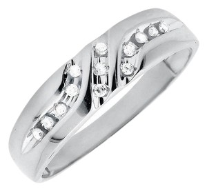 Jewelry Unlimited Solid 10K White Gold Diagonal Diamonds Z Style Wedding Ring Band0.12ct