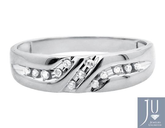 Jewelry Unlimited Solid 10K White Gold Diagonal Diamonds Z Style Wedding Ring Band0.12ct Image 2