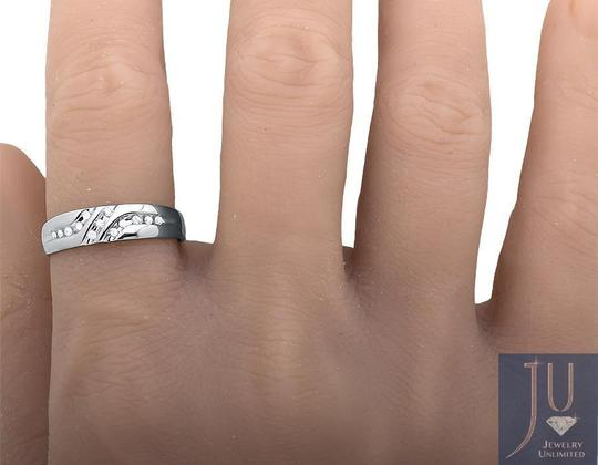 Jewelry Unlimited Solid 10K White Gold Diagonal Diamonds Z Style Wedding Ring Band0.12ct Image 3