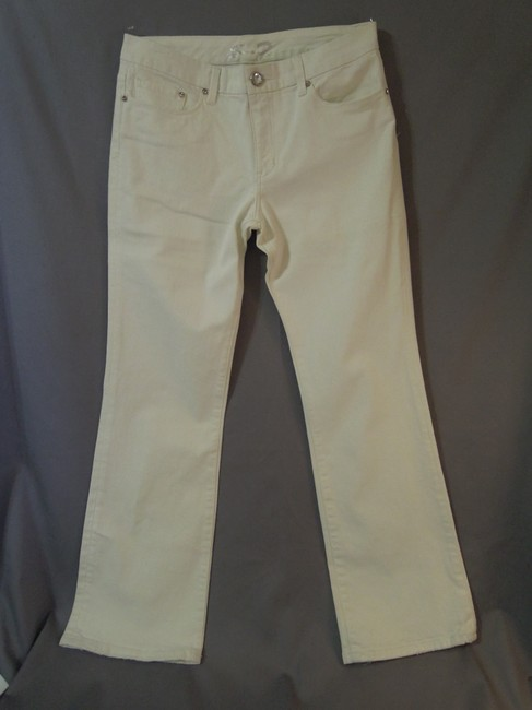 Seven7 Denium Bling Silverescent Pocket Design Boot Cut Pants white