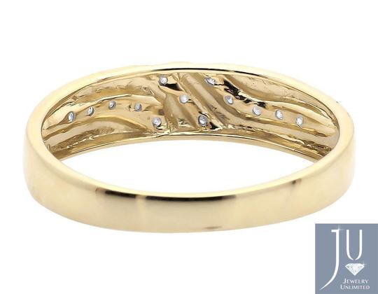Other 10K Yellow Gold Diagonal Diamonds Z Style Wedding Ring Band 0.12ct