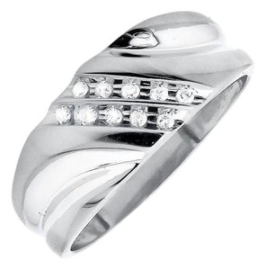 Other Two Diagonal Rows Genuine Diamond 9MM Wedding Band Ring 0.12ct