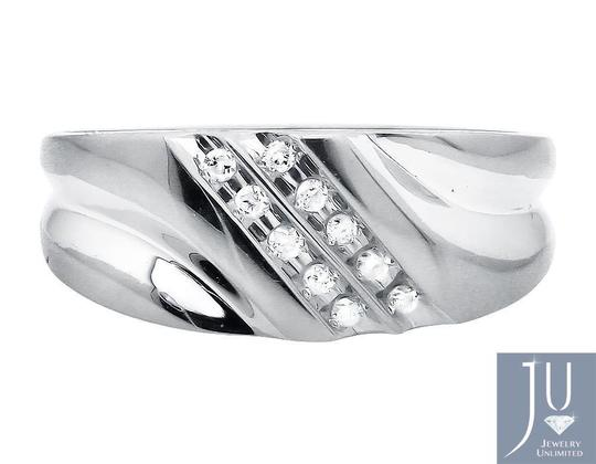 Jewelry Unlimited Two Diagonal Rows Genuine Diamond 9MM Wedding Band Ring 0.12ct Image 1