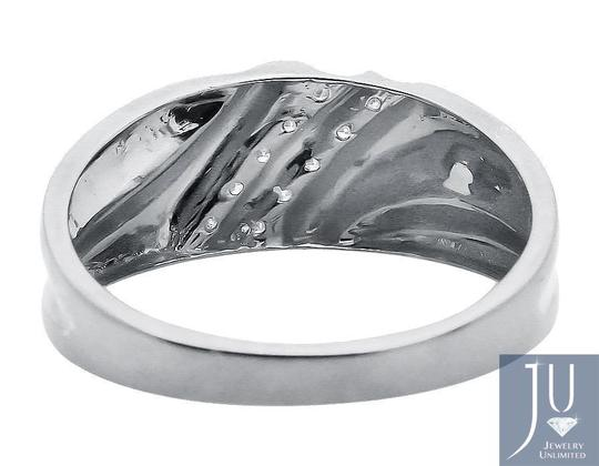 Jewelry Unlimited Two Diagonal Rows Genuine Diamond 9MM Wedding Band Ring 0.12ct Image 2
