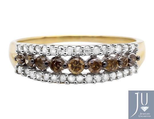 Other 3 Rows Brown and White Genuine Diamond Wedding Ring Band 0.50ct.