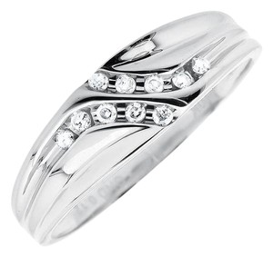 Jewelry Unlimited Channel Set Diagonal Round Real Diamond Wedding Band Ring 0.12ct.
