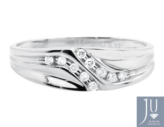 Jewelry Unlimited Channel Set Diagonal Round Real Diamond Wedding Band Ring 0.12ct. Image 1