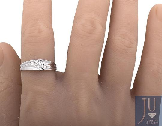 Other Channel Set Diagonal Round Real Diamond Wedding Band Ring 0.12ct.