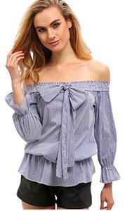 27754cbc41f2 SheIn Off The Shoulder Bow Tie-bow Top Blue
