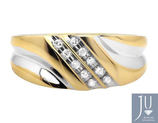 Other Two Diagonal Rows Genuine Diamond Wedding Band Ring 0.12ct.