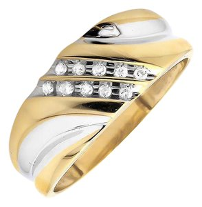 Jewelry Unlimited Two Diagonal Rows Genuine Diamond Wedding Band Ring 0.12ct.