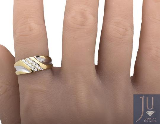 Jewelry Unlimited Two Diagonal Rows Genuine Diamond Wedding Band Ring 0.12ct. Image 2