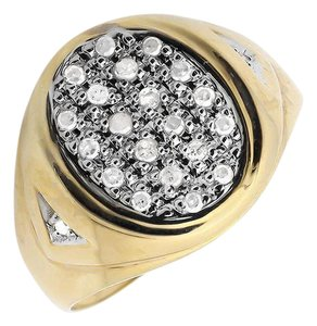 Jewelry Unlimited Mens Solid Oval Shape Top Genuine Diamond Pinky Ring 0.25ct