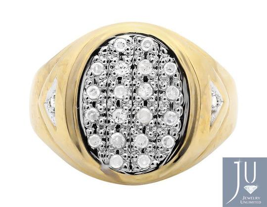 Jewelry Unlimited Mens Solid Oval Shape Top Genuine Diamond Pinky Ring 0.25ct Image 3