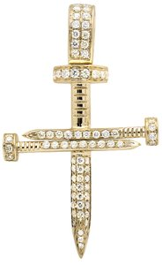 Other Solid Nail Cross Genuine Diamond 1.5 Inches Charm Pendant 0.75ct