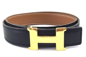 Herms 24MM Gold H Belt Size 65 Reversible Belt Black on Gold