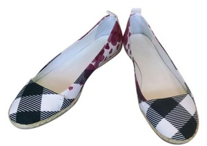 Burberry Black, White & Red Flats