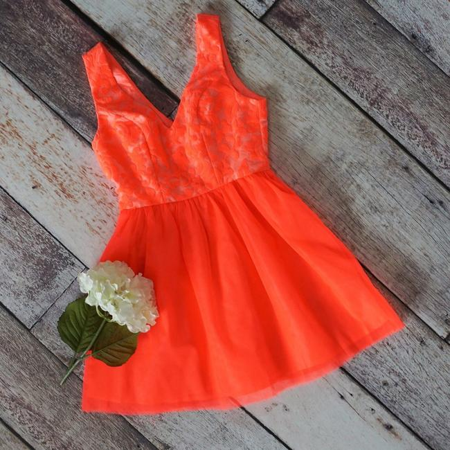 Preload https://img-static.tradesy.com/item/21070765/ark-and-co-neon-coral-embroidered-tulle-bright-lined-juniors-full-skirt-short-formal-dress-size-4-s-0-2-650-650.jpg