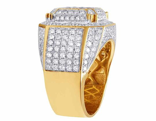Jewelry Unlimited 10K Yellow Gold Real Diamond 3D Square Wedding Ring 4.60CT Image 3