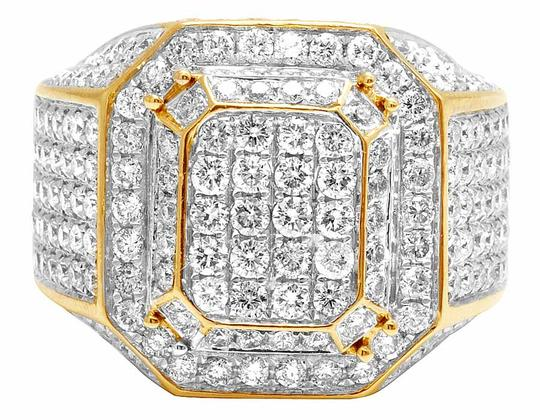 Jewelry Unlimited 10K Yellow Gold Real Diamond 3D Square Wedding Ring 4.60CT Image 4
