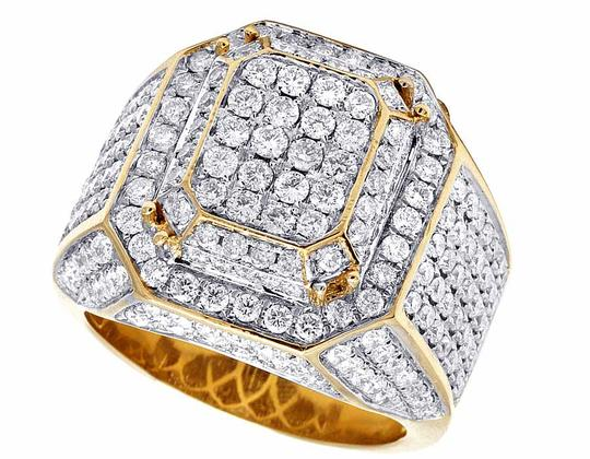 Jewelry Unlimited 10K Yellow Gold Real Diamond 3D Square Wedding Ring 4.60CT Image 5