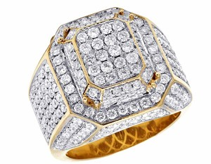 Other 10K Yellow Gold Real Diamond 3D Square Wedding Ring 4.60CT