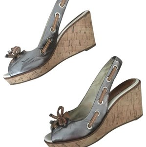 Sperry Pewter Wedges