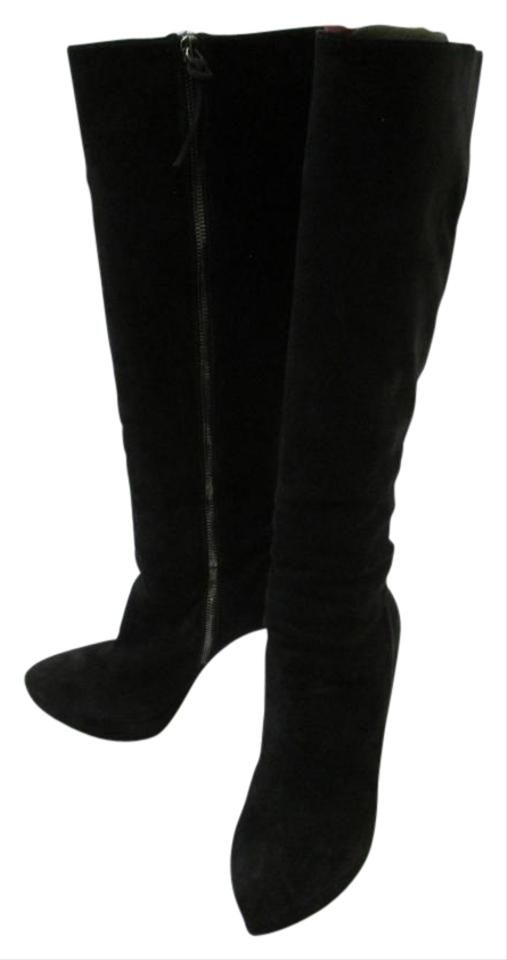 f4e1f34ca2311 Miu Miu Black Suede Almond Toe Platform Knee-high Boots/Booties Size ...