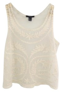 Forever 21 Sheer Boho Boho Style 21 Top Cream