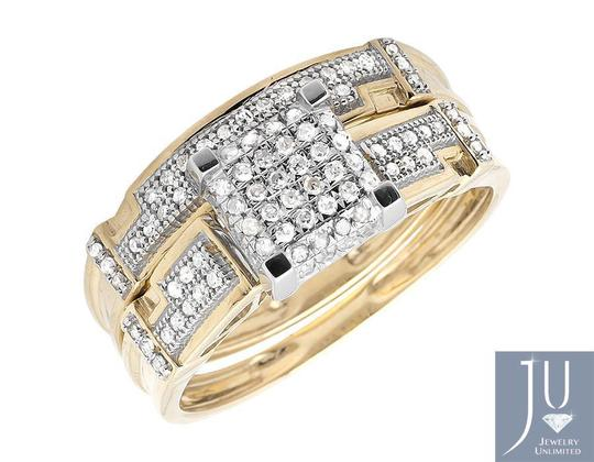 Other 10K Yellow Gold Diamond Square Top Trio Set Engagement Ring 0.50 Ct Image 1