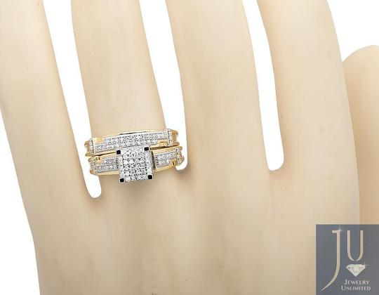 Other 10K Yellow Gold Diamond Square Top Trio Set Engagement Ring 0.50 Ct Image 2