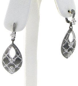 Judith Ripka Earrings Marquis Quilted Gothic White Sapphires Sterling Silver