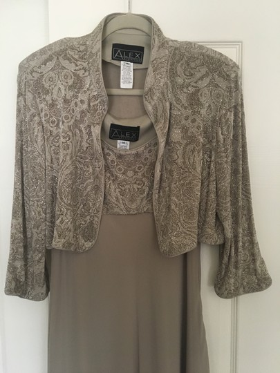 Alex Evenings Taupe Acetate/ Spandex. Chiffon. Mother Of Bride Formal Bridesmaid/Mob Dress Size 14 (L) Image 1