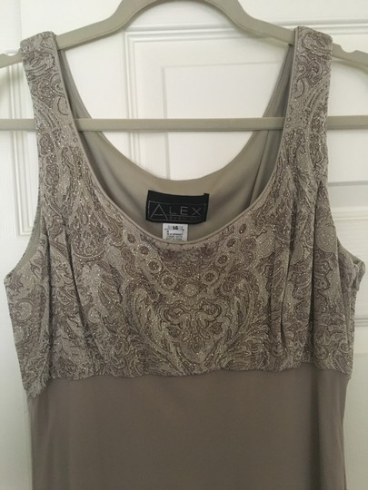 Alex Evenings Taupe Acetate/ Spandex. Chiffon. Mother Of Bride Formal Bridesmaid/Mob Dress Size 14 (L) Image 5