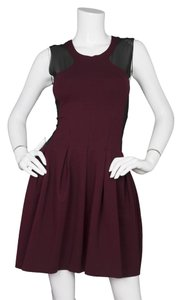 Maje short dress Burgundy and black Scuba Fit Flare Mesh on Tradesy