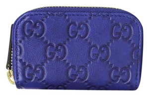 Gucci Royal Blue Guccissima Leather Zip Around Coin Purse Wallet 324801 4166