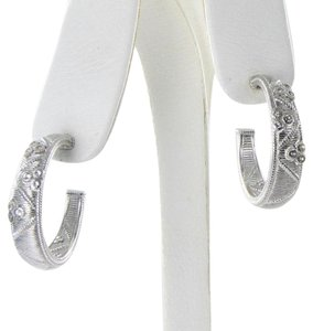 Judith Ripka Earrings Gothic Quilted Hoops White Sapphires Sterling Silver