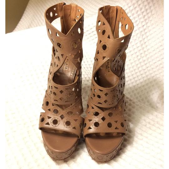 ALAA Leather Embellished Cut-out brown Sandals Image 1