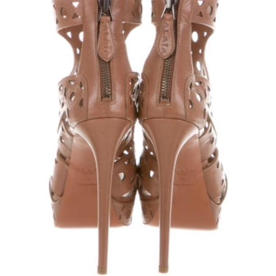 ALAA Leather Embellished Cut-out brown Sandals Image 2