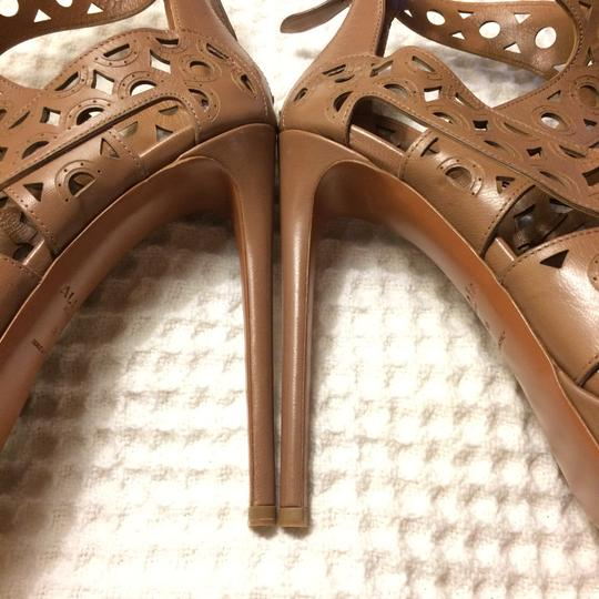 ALAA Leather Embellished Cut-out brown Sandals Image 5