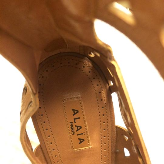 ALAA Leather Embellished Cut-out brown Sandals Image 6