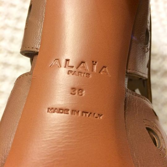 ALAA Leather Embellished Cut-out brown Sandals Image 7