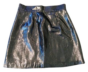 Naven Mini Pencil Metallic High Waist Mini Skirt silver