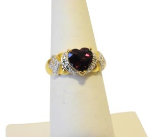 Technibond Technibond Created Ruby Heart Ring with Diamond Accents size 8